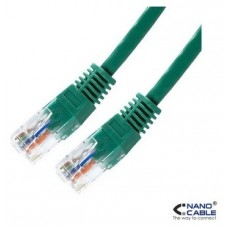 CABLE RED LATIGUILLO RJ45 CAT.5E UTP AWG24,0.5M VERDE NANOCABLE