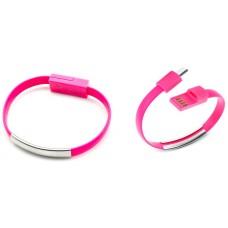 Pulsera Cable Carga/Datos MicroUSB Universal Rosa