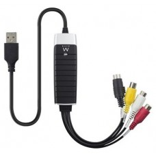 Ewent EW3706 USB 2.0 S-Video/Composite AV Negro, Gris, Rojo, Color blanco, Amarillo adaptador de cab (Espera 2 dias)