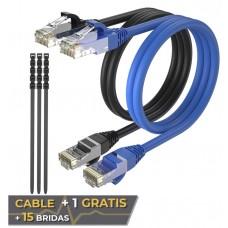Pack 2 Cables Ethernet CAT6 RJ45 24AWG 15m + 15 Bridas Max Connection (Espera 2 dias)
