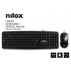 NILOX KIT TECLADO + RATON OPTICO CABLE USB NEGRO (Espera 3 dias)