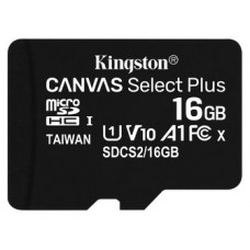 MEMORIA FLASH 16GB CANVAS SELECT PLUS MICROSD SIN ADAPTADOR KINGSTON (Espera 4 dias)