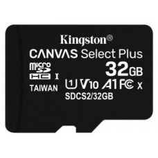 MEMORIA FLASH 32GB CANVAS SELECT PLUS MICROSD SIN ADAPTADOR KINGSTON (Espera 4 dias)
