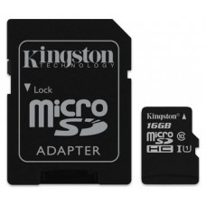 MEMORIA SD MICRO 16GB  CLASE 10 KINGSTON + ADAPTADOR
