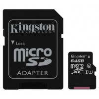 MEMORIA MICRO SD 64GB KINGSTON CLASE 10 UHS-I 80R