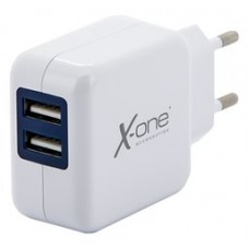 X-One cargador pared 2x USB 2.1A Blanco